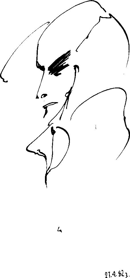 [ Mand. Tegnet af Михаил Баух, Moskva, 1983-04-27 ]